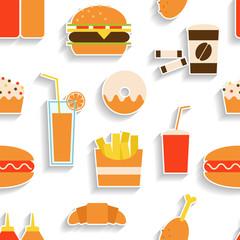 Seamless pattern of fast food