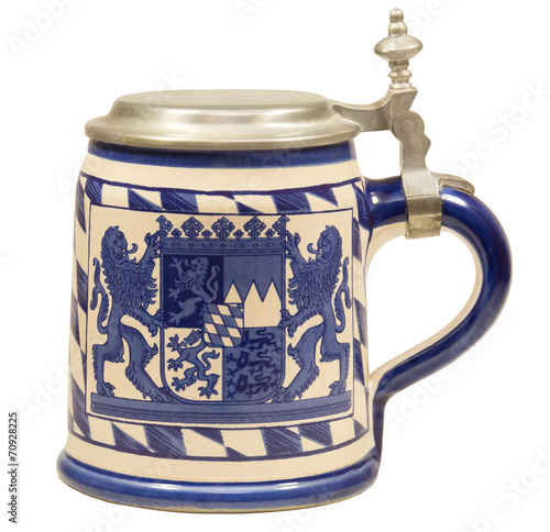canvas print picture Isolated Vintage Bavarian Beer Stein II