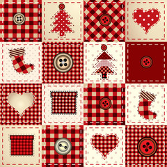 Seamless Christmas background in patchwork style/