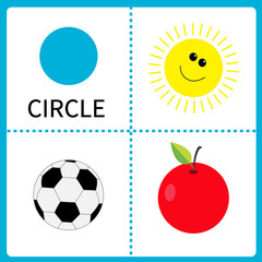 Learning circle form Sun ball apple. Educational cards Flat