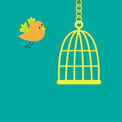 Golden birdcage cell. Flat design style.