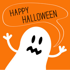 Cute ghost monster with speech text bubble Halloween card. Flat