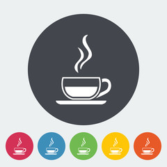 Cup of tea. Single flat icon on the button. Vector illustration.