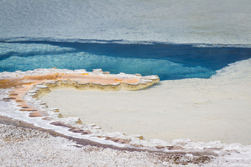 blue waters in Yellowstone's geysers