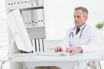 Doctor using his work computer