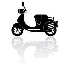 Vector Illustration of retro scooter silhouette