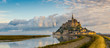 Leinwanddruck Bild - Panoramic view at morning Mont Saint-Michel