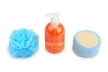 shampoo and sponge isolated on white
