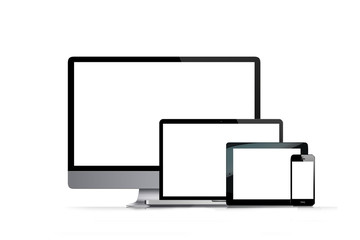 multimedia multi screen on a white background with reflection