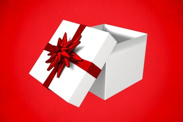 Composite image of white and red gift box