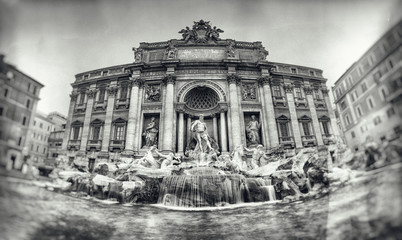 Vintage style photograph of Trevi Fountain
