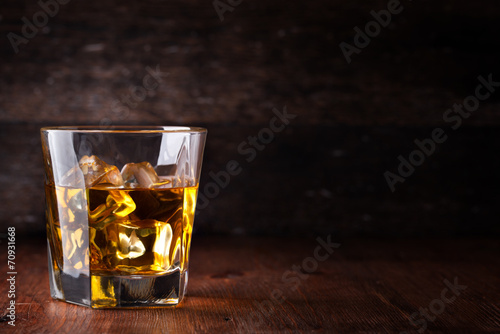 Plexiglas Bar Glass of scotch whiskey and ice