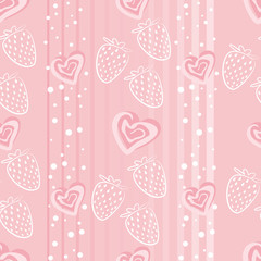 Strawberry love. Seamless pattern with hearts and strawberry