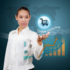 Asian business woman showing virtual online shopping. Concept of