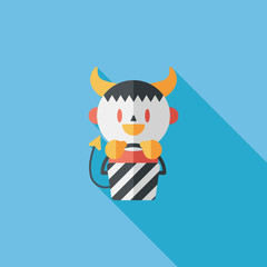cute wizard flat icon with long shadow,eps10