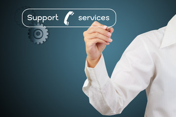Hand of business write or writing support and services word on t