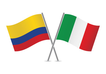 Italian and Colombian flags. Vector illustration.