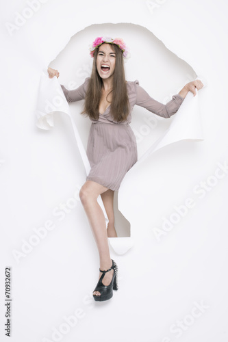canvas print picture flower girl full of energy