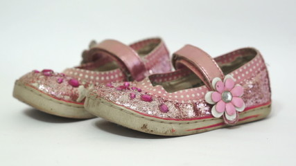 Little Girl Old Pink Princess Shoes