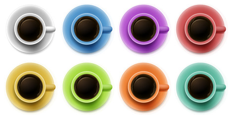 Topview of the cups with coffee