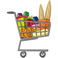 Full shopping trolley. Groceries in the shopping cart