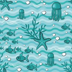 Seamless pattern with fish, jellyfish, starfish and corals