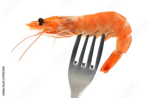 Leinwandbild Motiv Crevette piquée sur une fourchette
