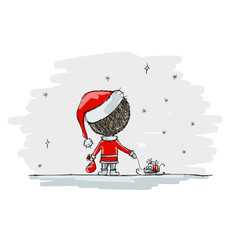 Santa with gifts, christmas illustration for your design