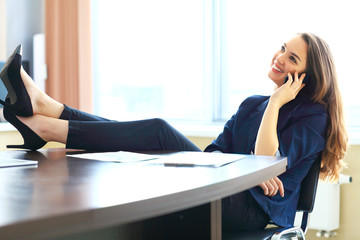 smiling business woman phone talking