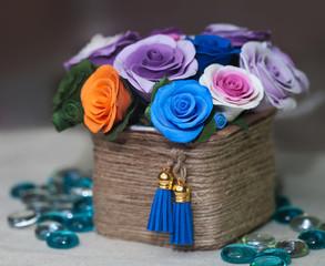 basket full of fall flowers