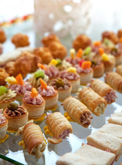 Food for cocktail on wedding party