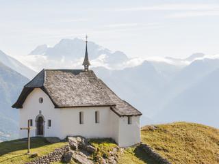 Bettmeralp, Bergdorf, Schweizer Alpen, Kapelle, Wallis, Herbst