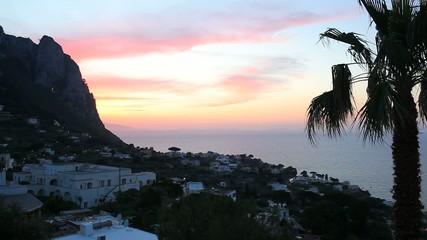 Sunset on Capri Island, Italy.