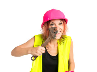 woman work over white background