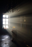Altar and sunlight in window in dark eastern orthodox temple poster