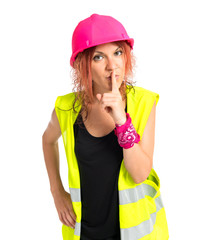 Worker woman making silence gestures