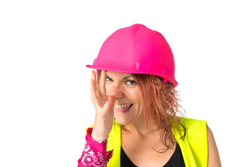 Worker woman making a joke over white background