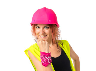 Lucky worker woman over isolated white background