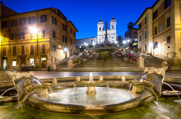 Spanish Steps at night. Rome - Italy