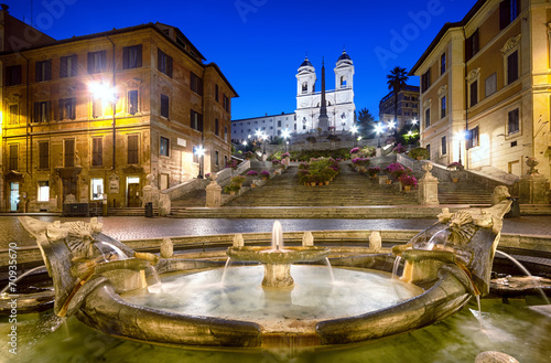 Foto op Canvas Rome Spanish Steps at night. Rome - Italy