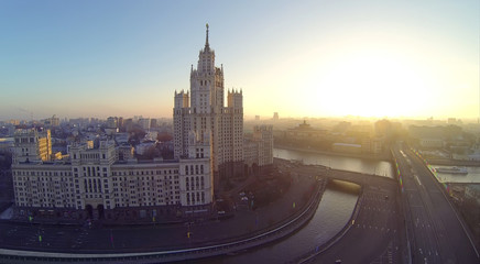 Building on Kotelnicheskaya Embankment at evening in Moscow