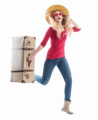 Laufende Frau mit Koffer