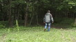 man is walking to the forest