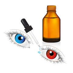 glass  bottle with pipe dropper conjunctivitis vector