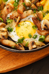 fried potatoes with meat and egg