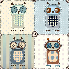 Patchwork with owls