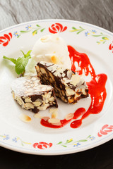 chocolate dessert with ice cream