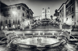 Vintage style photograph of Spanish Steps, Rome - Italy.