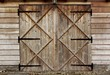 canvas print picture - old barn wooden door with four crosses