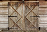 old barn wooden door with four crosses